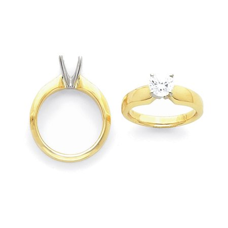 14k Two-Tone 1.5ct. Extra Heavy-Weight 4-Prong Solitaire Mounting