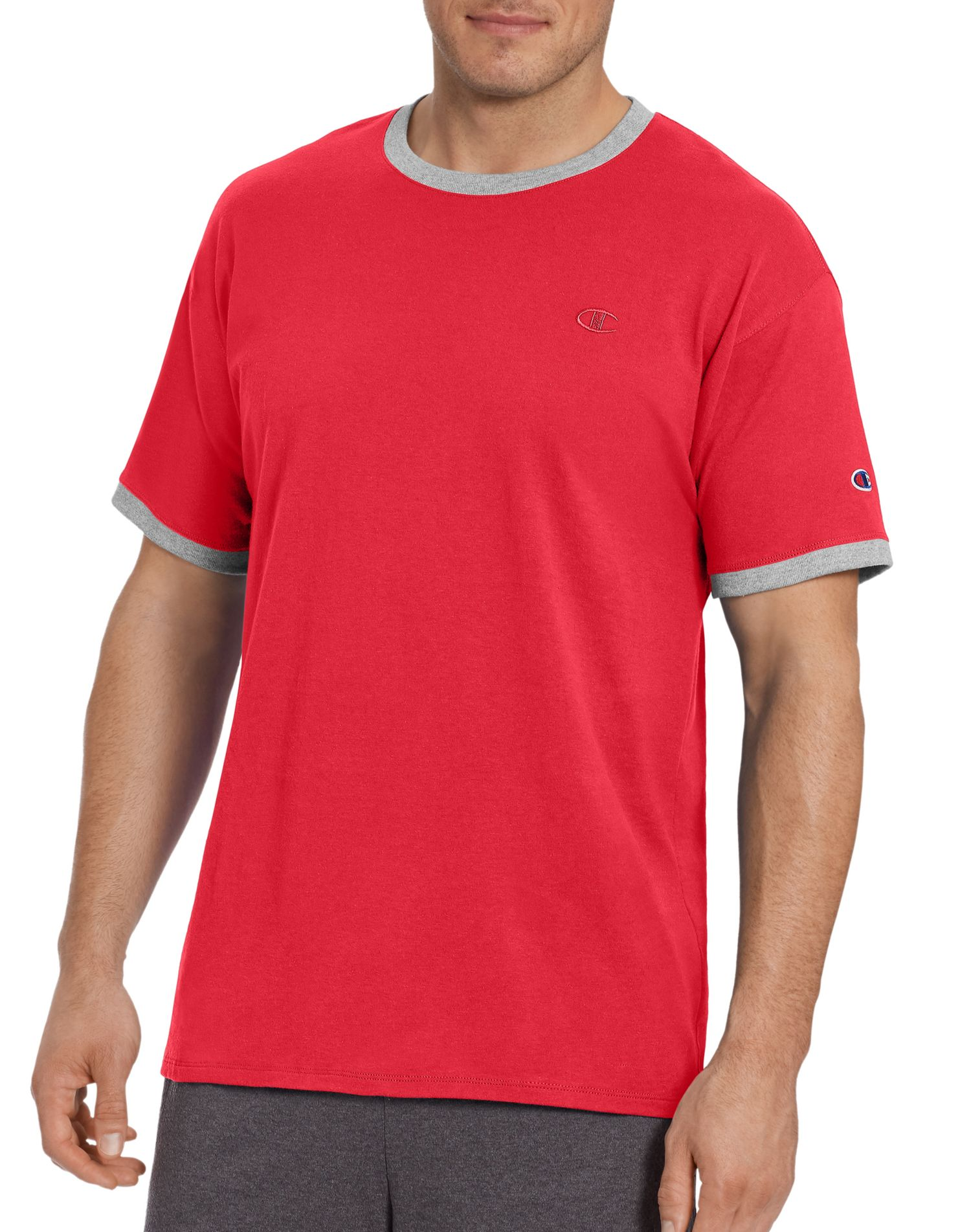 Champion Mens Classic Jersey Ringer Tee Surf the Web//Oxford Gray Heather M
