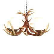 Pine Ridge Rustic Deer Antler Chandelier Ceiling Lamp Light Fixtures - Lifestyle Lightning Home Decor Products for Dining, Bedroom, Hallway, and Living Room - Christmas Holiday Decorations