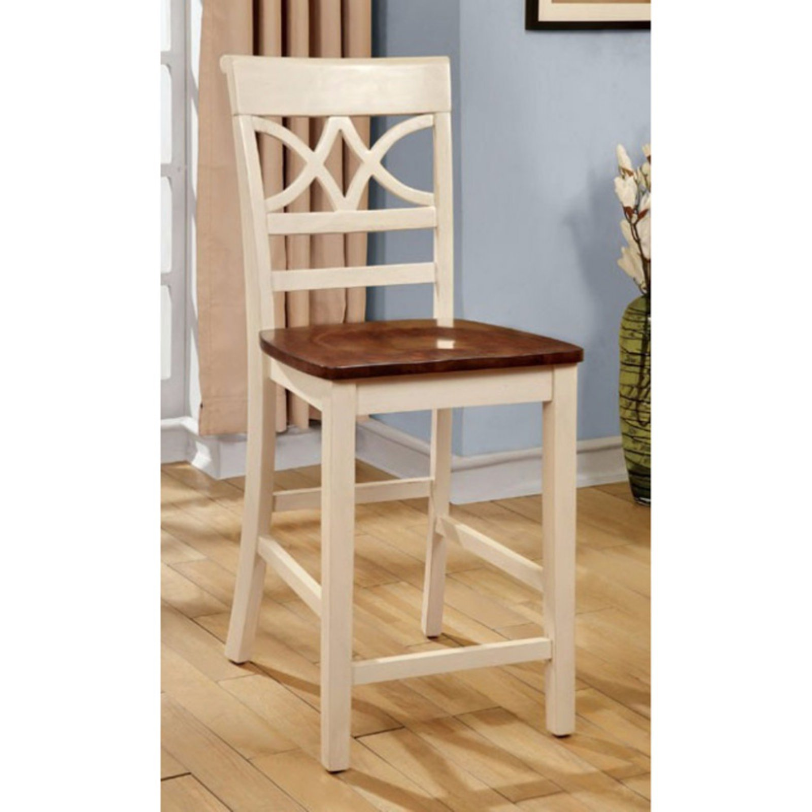 Torrington II Counter Height Chair, Vintage White & Cherry, Set Of 2