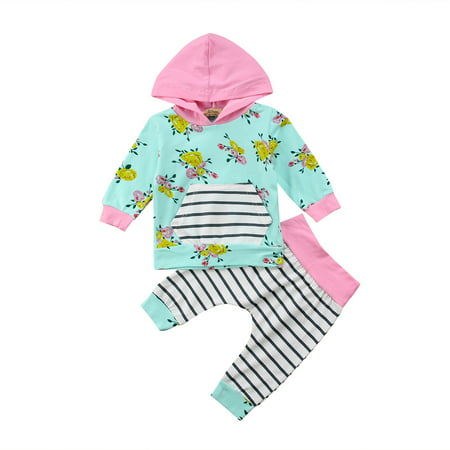 901fb85b1216 Baby Girls Floral Hoodie+ Floral Pant Set Leggings 2 Piece Outfits ...