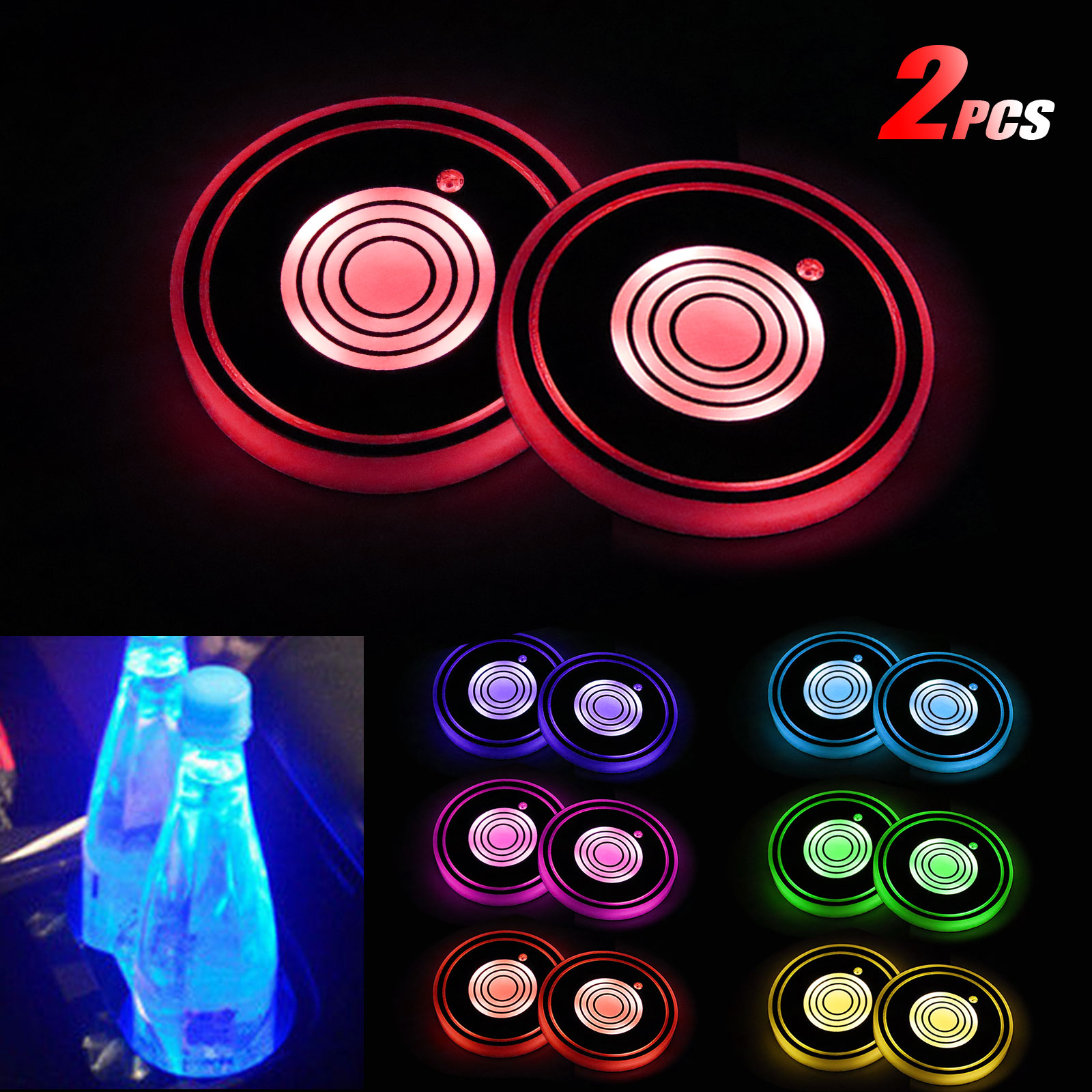 7 Colors Changing USB Charging Mat Luminescent Cup Pad Audi Honghou Technology 2pcs LED Car Cup Holder Lights for Audi LED Interior Atmosphere Lamp