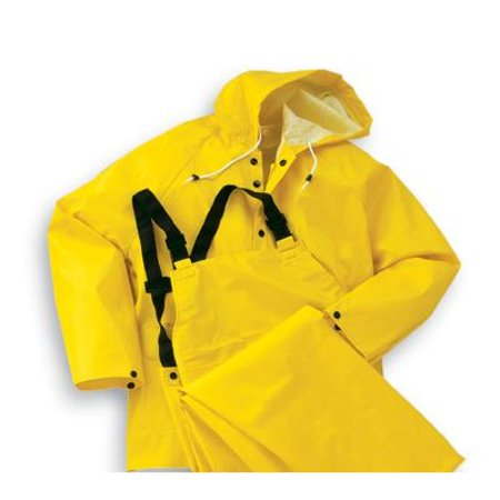 Polyester 3 Piece Suit (Onguard Industries 2X Yellow Webtex PVC And Non Woven Polyester 3 Piece Rain Suit (Includes Jacket With Front Snap Closure, Detached Hood And Bib Pants With No)