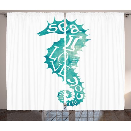 Animal Decor Curtains 2 Panels Set  I Love You Sea Quote With Pipefish Species Holiday Sun Hot Places Vacation Theme  Window Drapes For Living Room Bedroom  108W X 90L Inches  Teal  By Ambesonne