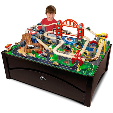 KidKraft Metropolis Train Set & Table with 100 accessories - Moving Train Set