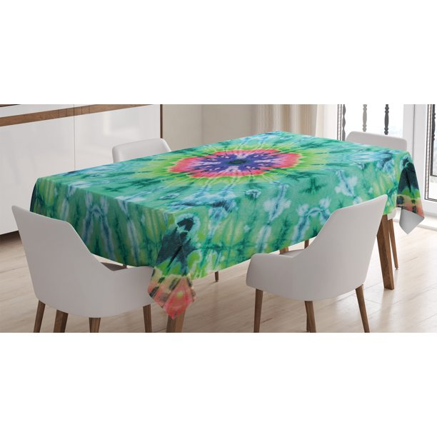 Tie Dye Decor Tablecloth Distressed Background With Pleating Gradient Brushed Marble Effect Image Rectangular Table Cover For Dining Room Kitchen 60 X 84 Inches Green Pink By Ambesonne Walmart Com Walmart Com