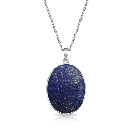 Blue Lapis Lazuli Oval Wishing Tree Family Tree Of Life Pendant Necklace For Women 925 Sterling Silver - image 2 of 4