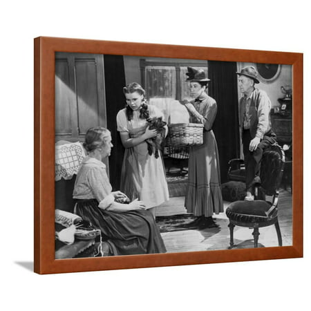 Wizard Of Oz Three People Listening at Old Woman Talking in Black and White Framed Print Wall Art By Movie Star (Black And White Photos Of Old People)