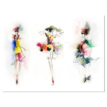Design Art Fashion Girls Posing Contemporary Graphic Art on Wrapped Canvas