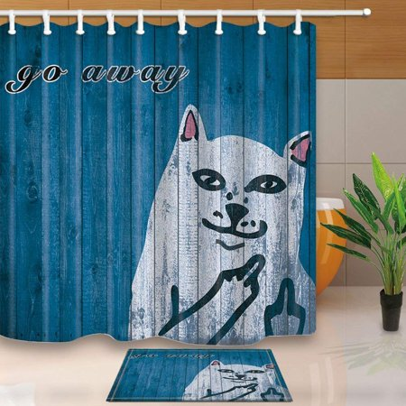 - ARTJIA Funny Cat on Vintage Wooden Go Away Decor Shower Curtain 66x72 inches with Floor Doormat Bath Rugs 15.7x23.6 inches
