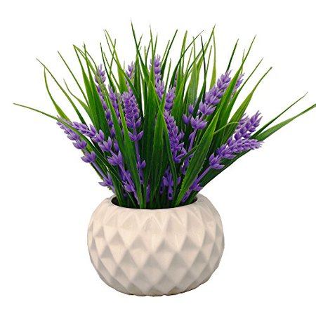 Modern Artificial Potted Plant for Home Decor Lavender Flowers and Grass Arrangements Tabletop