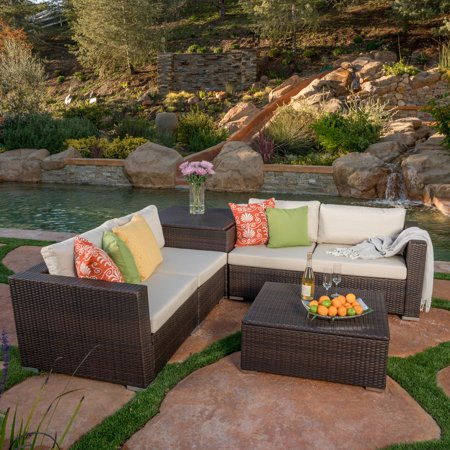 Murillo 6 Piece Patio Wicker Sectional With Storage Unit And Coffee Table