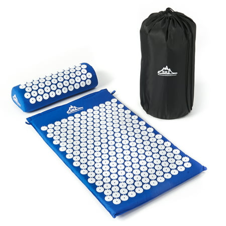 Black Mountain Products Acupressure Mat with Pillow and Carrying Bag – Acupuncture Mat for Trigger Point Massage