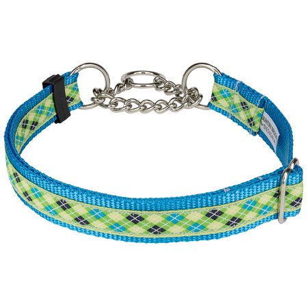 Country Brook Design® Lime Green & Blue Argyle Ribbon Half Check Dog Collar Dog Pet Christmas Ribbon Collar