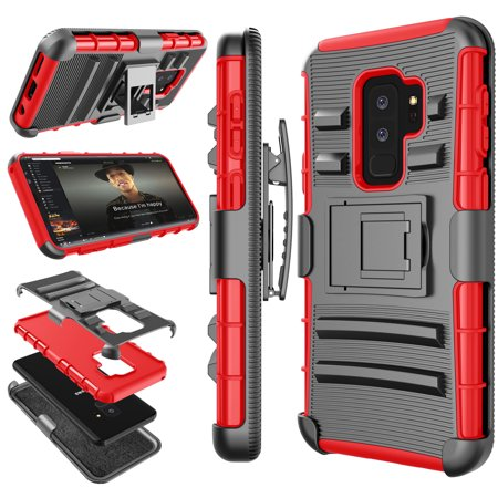 best sneakers ea363 e3e7e Galaxy S9 Plus Case, Samsung Galaxy S9 Plus Holster Belt, S9+ Sturdy Case,  Tekcoo [Hoplite] Shock Absorbing [Red] Secure Locking Clip Defender Heavy  ...