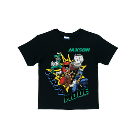 Personalized Power Rangers Dino Charge Birthday Party Mode Boys' Black T-Shirt