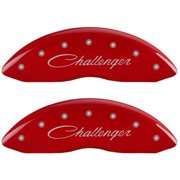 MGP 4 Caliper Covers Engraved Front & Rear Cursive/Challenger Red finish silver ch