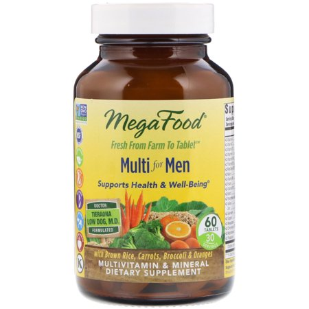 MegaFood - Multi for Men, Multivitamin Support for Energy Production, Cardiovascular Health, and Immune Function with Methylated Folate and B12, Vegetarian, Gluten-Free, Non-GMO, 60