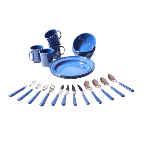 Unica 24-Piece Dinnerware Set, Blue