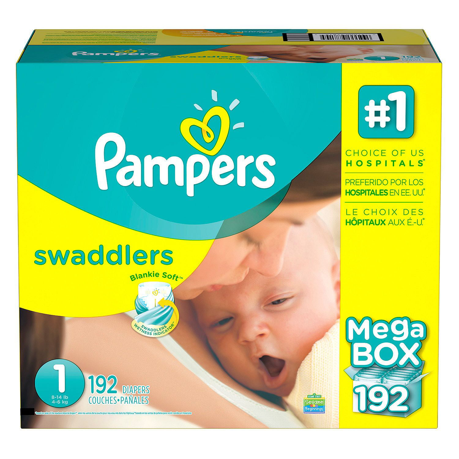 Pampers' Swaddlers Diapers Size 1 192 ct. ( Weight 8- 14 lb.) Bulk Qty, Free Shipping Comfortable, Soft, No... by Branded Diapers