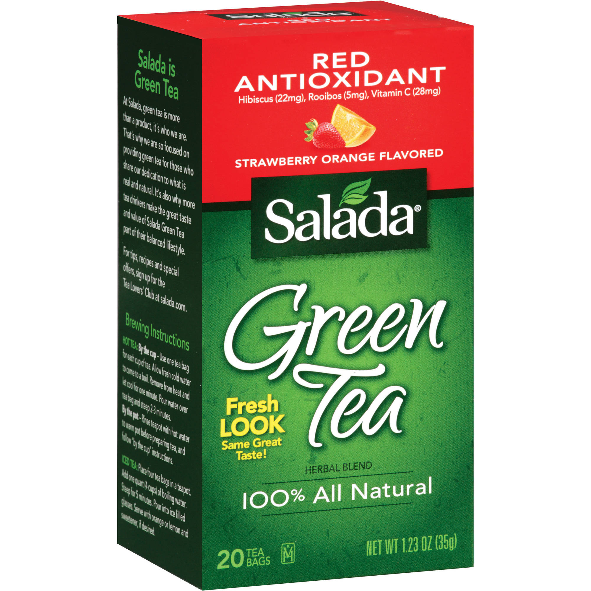 Salada Strawberry-Orange Green Tea With Red Antioxidants, 20ct (Pack of 6)