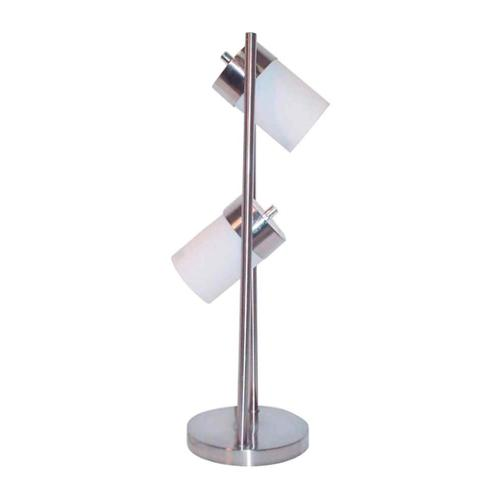 Modern Table Lamp w 2 Adjustable Lights w White Frosted Shades