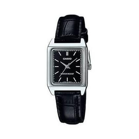 Women's Analog Quartz Stainless Steel Black Leather Watch LTP-V007L-1E