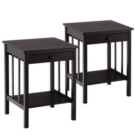 "Globe House Products GHP 2-Pcs 16""x14""x20"" Bamboo Plywood Multipurpose Drawer Storage Shelf Nightstand"