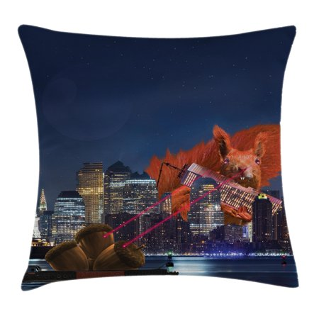 Animal Decor Throw Pillow Cushion Cover  Cartoon Like New York City Scenery With A Big Laser Eyed Cute Squirrel Image  Decorative Square Accent Pillow Case  24 X 24 Inches  Multicolor  By Ambesonne