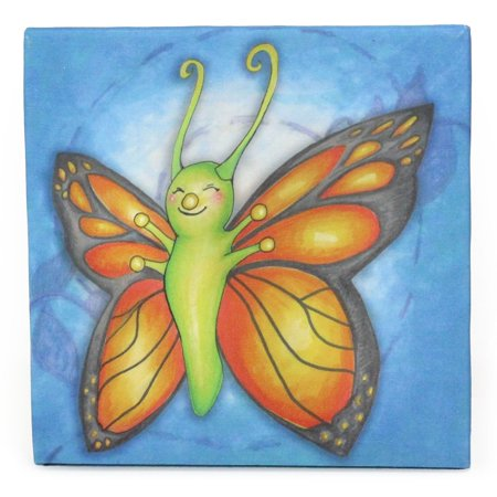 Childrens Caterpillar to Butterfly Growing Kids Collection Butterfly Canvas Print Wall Art