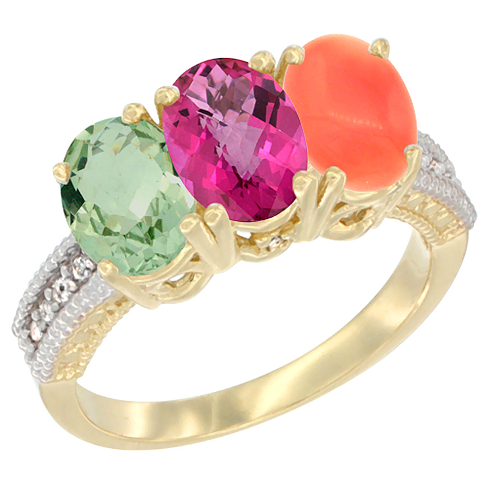 10K Yellow Gold Diamond Natural Green Amethyst, Pink Topaz & Coral Ring Oval 3-Stone 7x5 mm,sizes 5-10 by WorldJewels