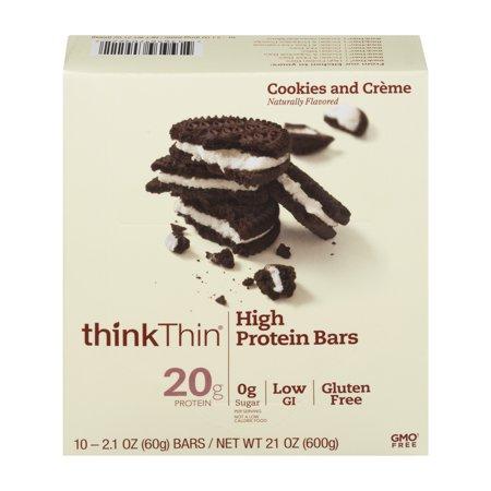thinkThin High Protein Bar, Cookies & Cream, 20g Protein, 10 Ct