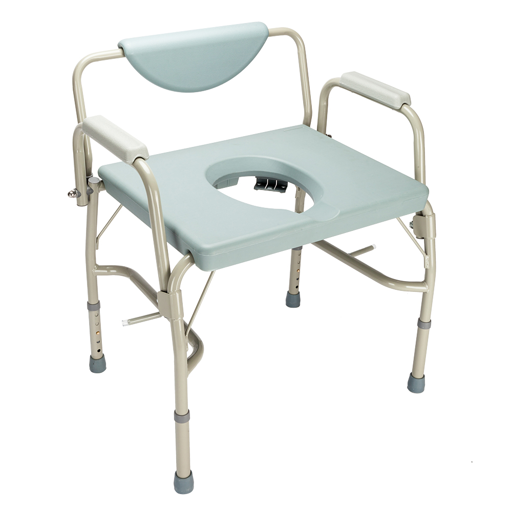 Ktaxon Medical Beside Commode Chair with Safety Steel Frame Adjustable Height Grey