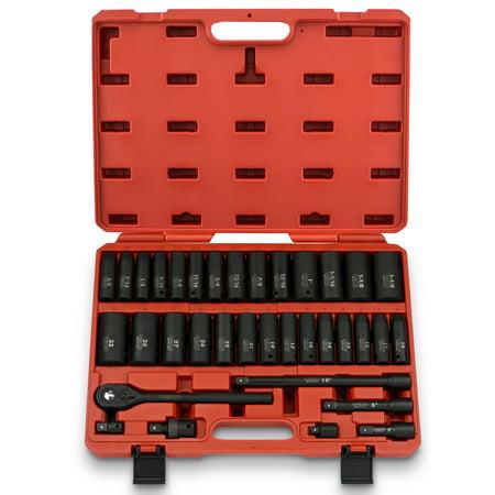 "Neiko Neiko 35 Pc 1/2"" Dr Deep Impact Socket Master Set | SAE & MM CR-V Steel"