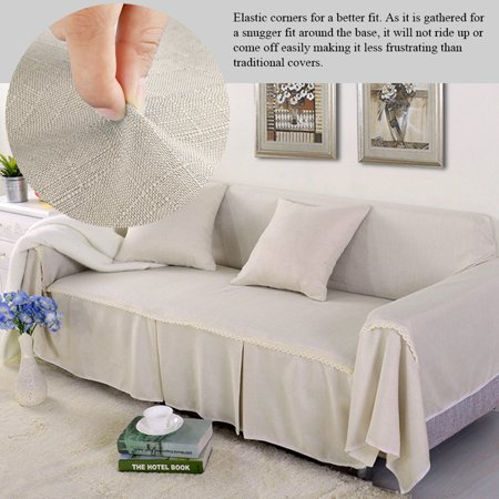 Imitation Linen Sofa Cover Solid Color Sofa Towel Living Room Single/Double/Three/Four People Non-Slip