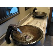 Novatto Hand Painted Glass Vessel Sink - Green/Brown/Gold