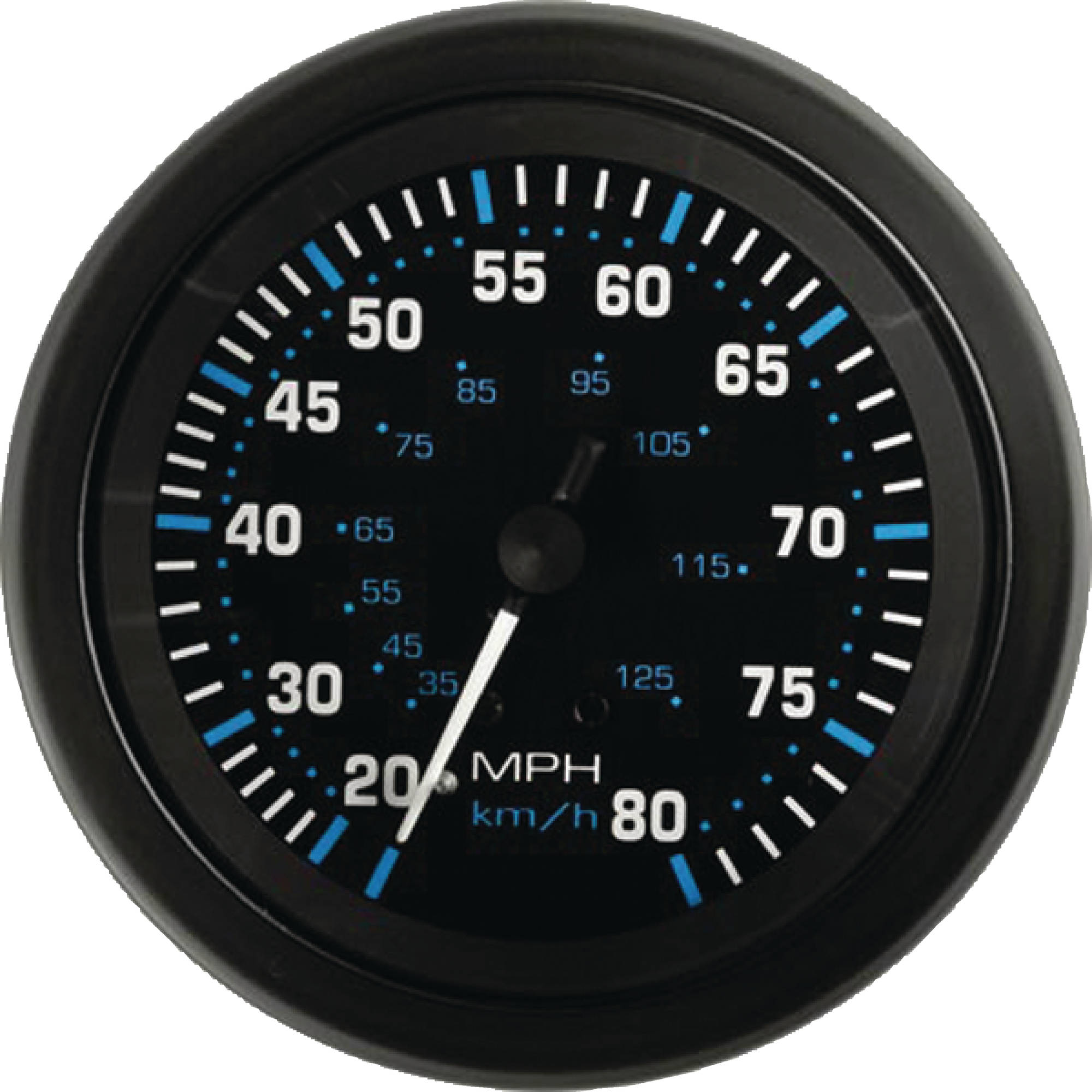 "Sierra 68397P Eclipse Series 3"" Black 0-80 MPH Dial Range Speedometer Gauge Kit with Pitot, Hose and ""G"" Sender Code"