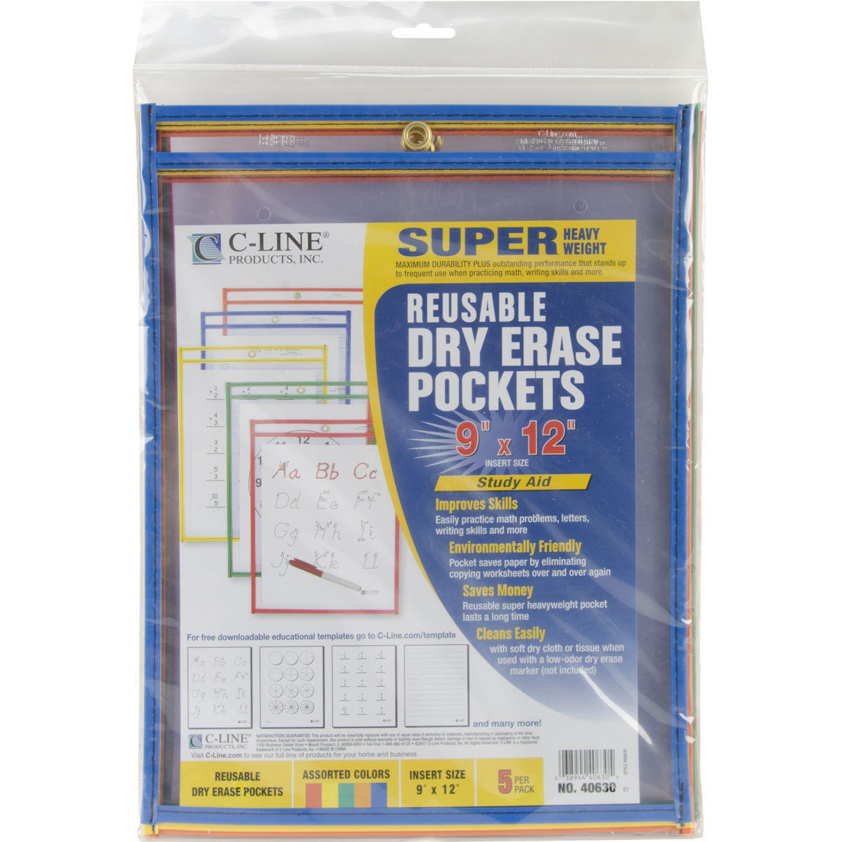 "Reusable Dry Erase Pockets 9""X12"" 5/Pkg Assorted Primary Colors"