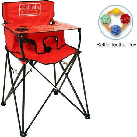 Ciao Baby Portable High Chair With Rattle Teether Toy Red