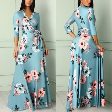 f0014c93db Emmababy - Women s Boho Floral Printed Long Sleeve Long Maxi Dress Evening  Party Beach Bandage Sundress - Walmart.com