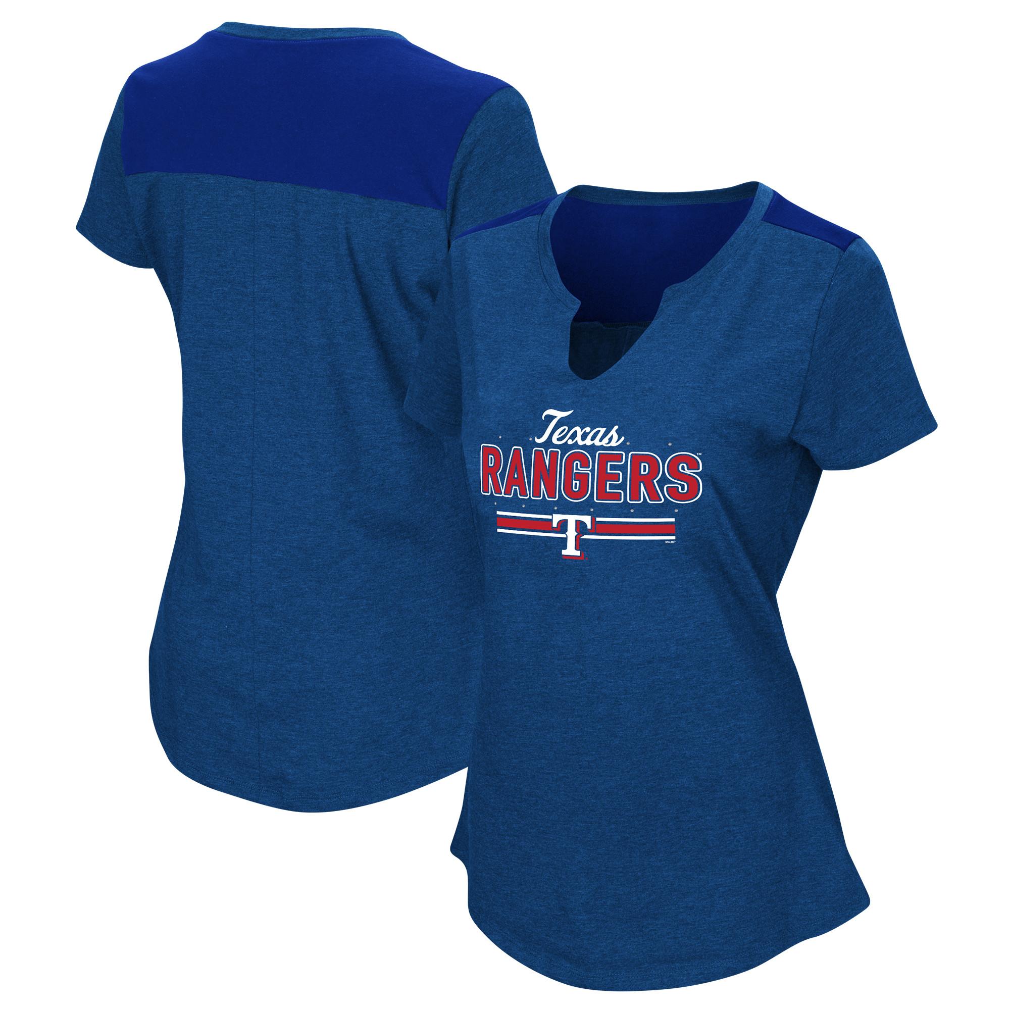 Women's Majestic Royal Texas Rangers Plus Size Switch Hitter T-Shirt