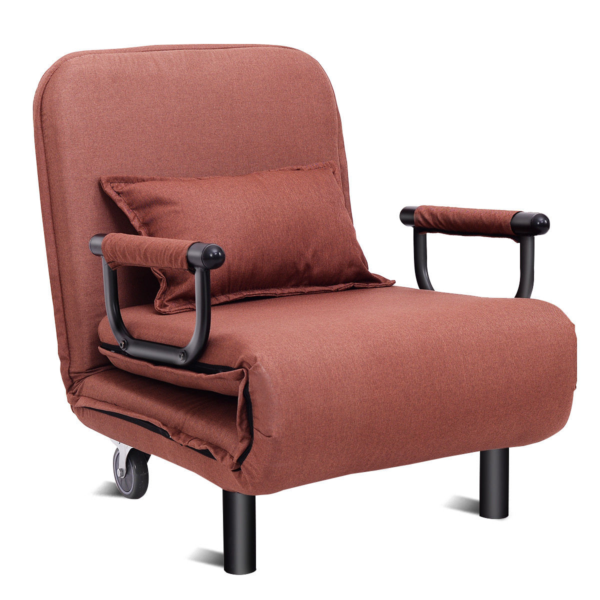 Costway Convertible Sofa Bed Folding Arm Chair Sleeper Leisure Recliner Lounge Couch