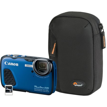 Canon Blue PowerShot D30 9337B001-3A-KIT Digital Camera with 12.1 Megapixels and 5x Optical Zoom
