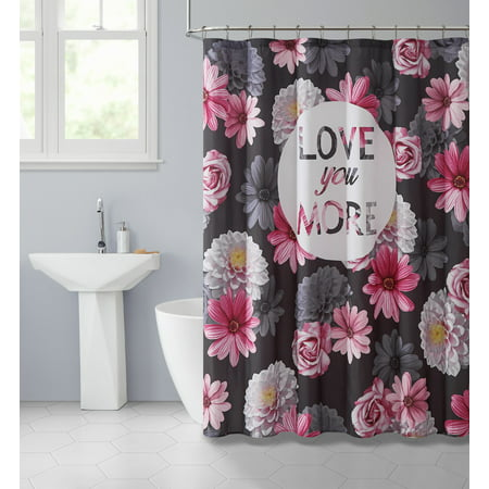 Mainstays Love You More Floral Shower Curtain