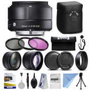 Sigma 30mm F2.8 DN Black Lens for Panasonic/Olympus Micro Four Thirds (33B963) with 3 Piece Filter Set (UV-CPL-FLD) + 2.2x Telephoto + 0.43x Wide Angle + Deluxe Cleaning Kit + Dust Blower + More
