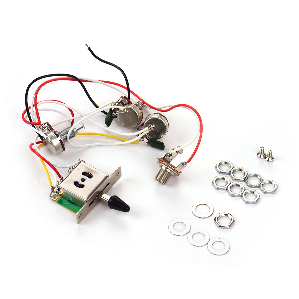 Electric Guitar Wiring Harness Kit Replacement with 1 Volume 2 Tone 1 Jack  500K 5-Way Toggle Switch for Stratocaster Guitar - Walmart.com - Walmart.com | Guitar Wiring Harness Volume Tone Tone |  | Walmart