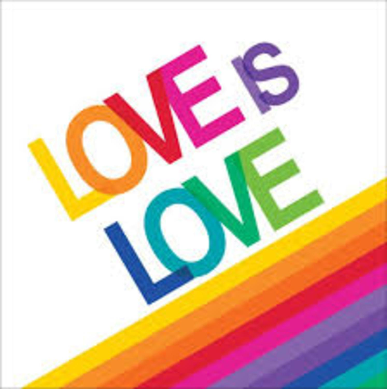 """Club Pack of 192 Rainbow """"Love Is Love"""" Disposable 2-Ply Party Luncheon Napkins 6.5"""""""