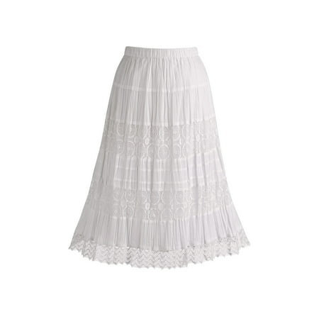 Elie Tahari Cotton Skirt - Women's White Peasant Skirt - Cotton Lace 26