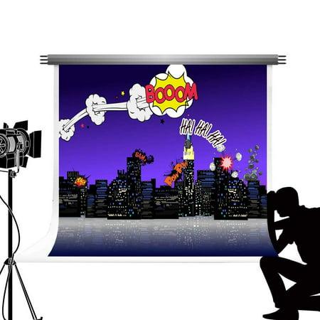 ABPHOTO Polyester Cartoon Superhero Backdrop for Photography Portable Boom City Night Scene Photographic Backgrounds for Newborn Wedding Party Photos 7x5ft (Superhero Wedding)