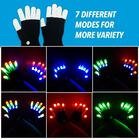 Best LED Rave Flashing Lightning Gloves Finger Glow Pair 7 Modes Light up - Finger Light Show